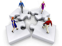 Puzzle and people. The puzzle and the people Stock Images