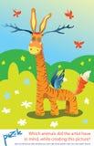 Puzzle per i bambini con le risposte Animale enigmatico meraviglioso Indovini l'animale Fotografie Stock Libere da Diritti