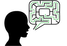 Puzzle person talks maze speech bubble solution Stock Photo
