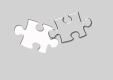 Puzzle piece. Illustration of a metallic Puzzle piece on a metallic grey background Stock Photo