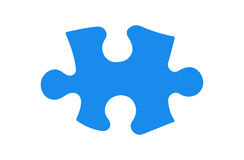 Puzzle Piece. Blue puzzle piece, with clipping path Royalty Free Stock Photos