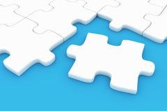 Puzzle piece. On blue - 3D render Stock Images