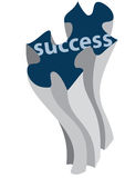 Puzzle piece. Succeess puzzle piece supports rising Stock Photo