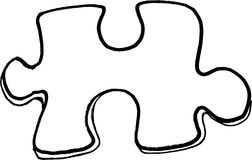 Puzzle Piece. Hand drawn illustration of a line drawing puzzle piece Stock Photography