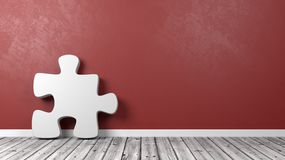Puzzle Piece Against Wall with Copyspace. White Puzzle Piece Shape on Wooden Floor Against Red Wall with Copyspace 3D Illustration stock illustration