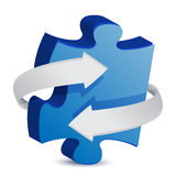 Puzzle piece arrow Stock Photo