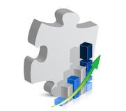 Puzzle piece and blue business graph. illustration Royalty Free Stock Photography