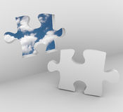 Puzzle Piece - Blue Sky Opening Royalty Free Stock Photography