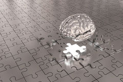 The Puzzle piece Brain missing Build Silver Stock Photos