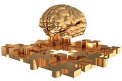 The Puzzle piece Brain missing Gold Build Stock Images