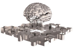The Puzzle piece Brain missing Silver Build Royalty Free Stock Photos