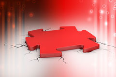 Puzzle piece in the breaking floor Royalty Free Stock Image