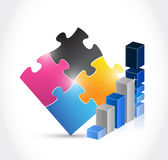 Puzzle piece business graph illustration design Royalty Free Stock Photo