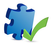 Puzzle piece with a check mark Royalty Free Stock Photo