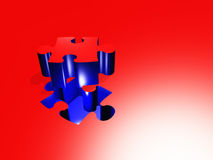 Puzzle. Piece composition red blue Stock Photo