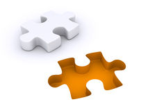 Puzzle piece detached from the ground. 3d puzzle piece is detached from the ground Royalty Free Stock Photos