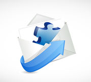 Puzzle piece envelope illustration design. Over a white background Stock Images