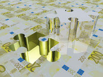 Puzzle piece Euro. Puzzle piece missing Euro surface Royalty Free Stock Images