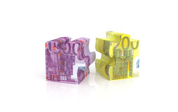 Puzzle piece with euro currency. 3d render illustration of puzzle piece with euro currency Royalty Free Stock Photos