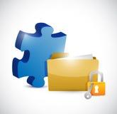 Puzzle piece folder and lock illustration design Stock Images
