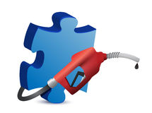 Puzzle piece with a gas pump nozzle Stock Photo