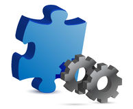 Puzzle piece and gear illustration design Stock Photos