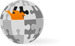 Puzzle piece globe Royalty Free Stock Photo