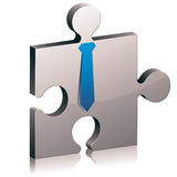 Puzzle piece icon. Puzzle piece with tie vector icon Royalty Free Stock Images