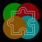 Puzzle piece icon, vector puzzle symbol stock illustration