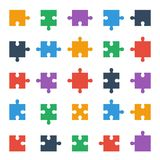 Puzzle piece icons, all possible shapes of jigsaw pieces. Jigsaw puzzle icons, all shapes of puzzle pieces Stock Photo