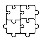 Puzzle piece isolated flat icon. Puzzle piece isolated icon, teamwork concep design vector illustration Royalty Free Stock Photo