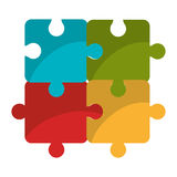 Puzzle piece isolated flat icon. Puzzle piece isolated icon, teamwork concep design vector illustration Royalty Free Stock Images