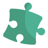 Puzzle piece isolated flat icon. Puzzle piece isolated icon, teamwork concep design vector illustration Stock Photo