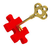 Puzzle piece with key Stock Photo