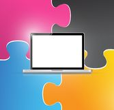 Puzzle piece and laptop illustration Royalty Free Stock Image