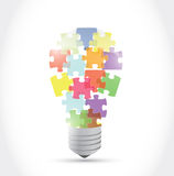 Puzzle piece light idea bulb. illustration design Stock Photography