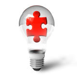 Puzzle piece in lightbulb. Red puzzle piece in lightbulb isolated over white background Royalty Free Stock Image