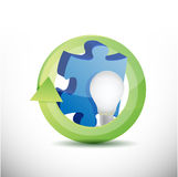 Puzzle piece and lightbulb illustration Royalty Free Stock Photo