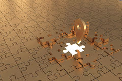 The Puzzle piece Local missing Build Gold Royalty Free Stock Images