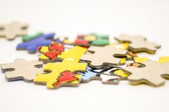 Puzzle piece for make picture. Only one side have picture Royalty Free Stock Photos