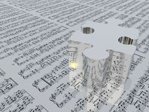 Puzzle piece and muic notation Sheet music is proviede with 3D Stock Image