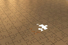 The Puzzle piece open Gold Stock Image