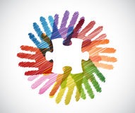 Puzzle piece over diversity hands circle Royalty Free Stock Photo