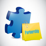 Puzzle piece and partnership post illustration Royalty Free Stock Images