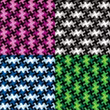 Puzzle Piece Patterns in Four Colorways Stock Photos