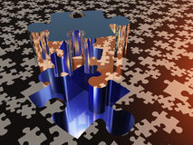 Puzzle piece on puzzle surface. Puzzle piece on puzzle covered surface Stock Photography