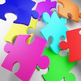Puzzle, puzzle piece, red, blue, green, yellow, metal stock photo
