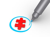 Puzzle piece is selected Royalty Free Stock Photo