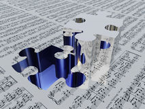 Puzzle piece and sheet music Stock Photos