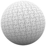 Puzzle Piece Sphere Ball Fit Together Peace Harmony. Jigsaw puzzle pieces fit together in a ball or sphere to illustrate parts connecting or linking together to Stock Photos
